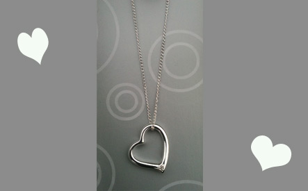 Silver Sterling Heart Pendant and Chain - 16''